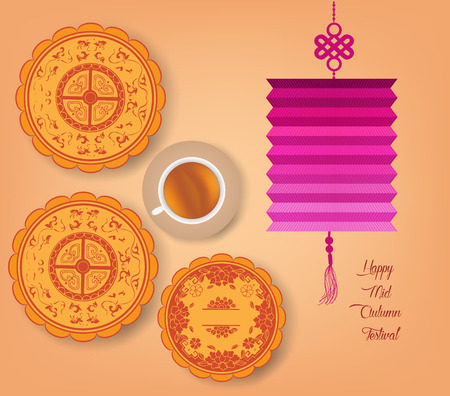 mooncake festival: Chinese mid autumn festival background with lantern, tea and cake