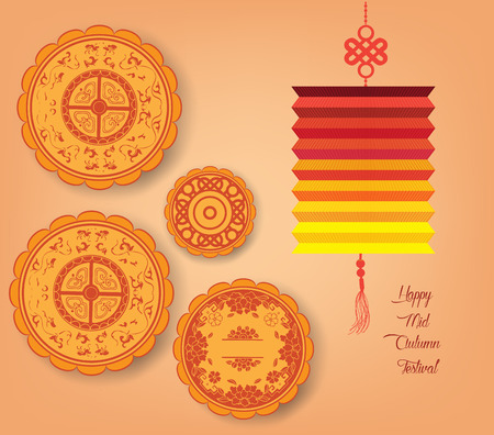 mid: Chinese mid autumn festival background with lantern, tea and cake