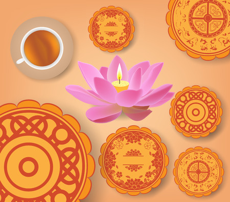 mooncake festival: Chinese mid autumn festival background with lotus lantern, tea and cake