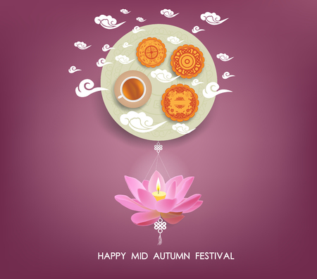 lotus lantern: Chinese mid autumn festival background with lotus lantern, tea and cake