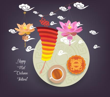 tanglung festival: Chinese lotus lantern festival. Mid autumn full moon, cake and tea