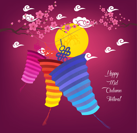 tanglung festival: Mid Autumn Festival background with lantern Illustration