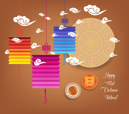 mooncake festival: Mid autumn festival with lantern colorful Background Illustration