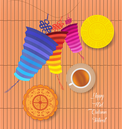 cake background: Mid Autumn Lantern Festival background with moon cake and chinese tea Illustration