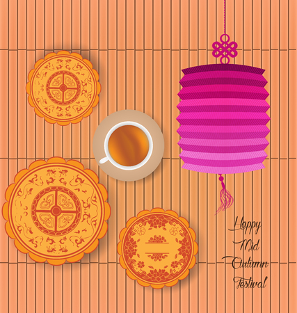 tanglung festival: Mid Autumn Lantern Festival background with moon cake and chinese tea. Illustration