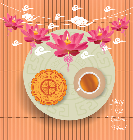 tanglung festival: Mid Autumn Lantern Festival background with moon cake and chinese tea Illustration