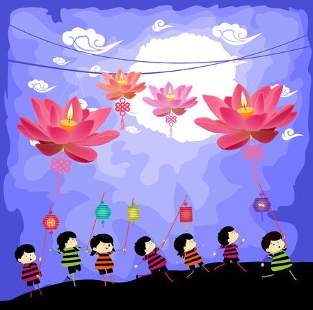 提灯を遊んでいる子供を半ば秋祭りの背景