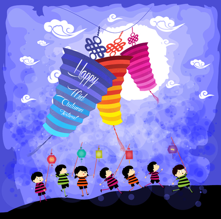 Mid Autumn Festival background with kids playing lanterns Illustration