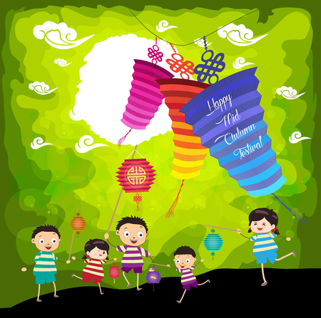 festival people: Mid Autumn Festival background with kids playing lanterns Illustration