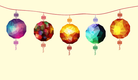 co lour: Illustration about traditional festival polygonal lanterns