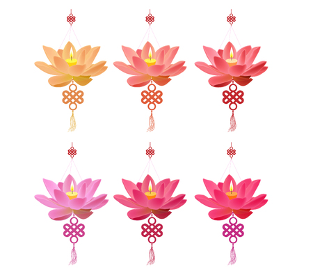 Chinese lotus Lantern Collection. Chinese new year and mid autumn festival Illustration