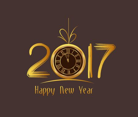 new years eve background: Happy New Year 2017 - Old clock