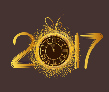 in years: Happy New Year 2017 - Old clock