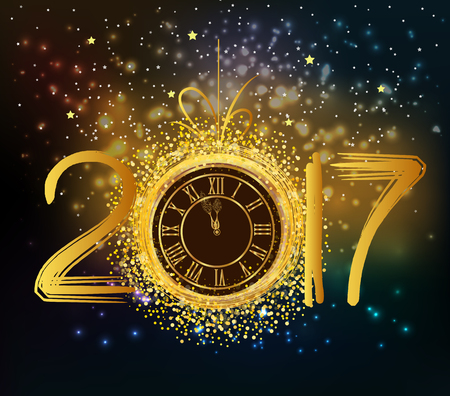 five to twelve: 2017 Happy New Year background with gold clock
