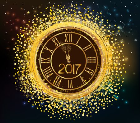 old and new: 2017 shiny New Year Clock background Illustration