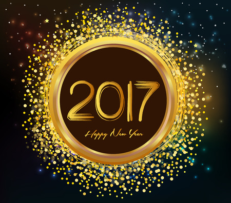 discoball: 2017 Merry Christmas and Happy New Year glowing background Illustration