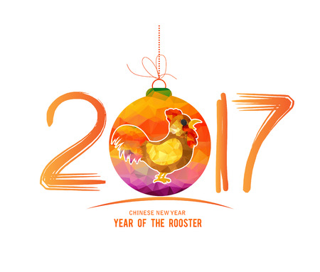 chinese new year card: 2017 Happy New Year greeting card. Chinese New Year of the Rooster
