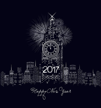 money packet: Happy new year 2017 written with Sparkle firework and led