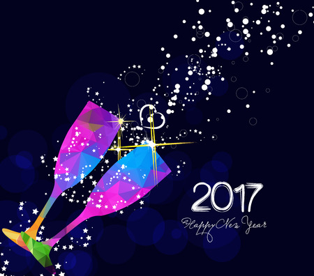 Happy new year 2017 greeting card or poster design with colorful triangle glass