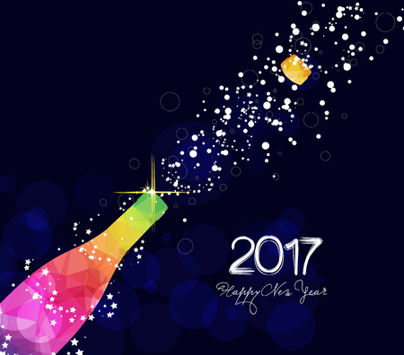 Happy new year 2017 greeting card or poster design with colorful triangle champagne explosion