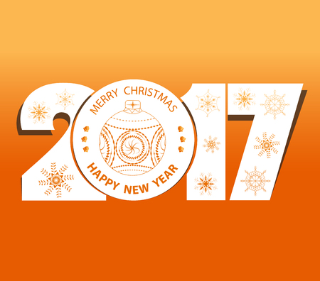happy christmas: Merry christmas and happy new year 2017 Illustration