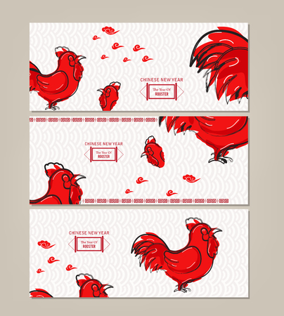 greeting people: Horizontal Banners Set with Hand Drawn Chinese New Year Rooster