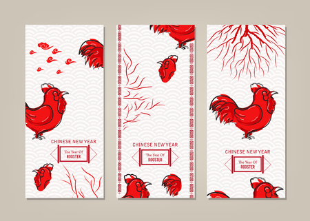 china watercolor paint: Vertical Banners Set with Hand Drawn Chinese New year Rooster