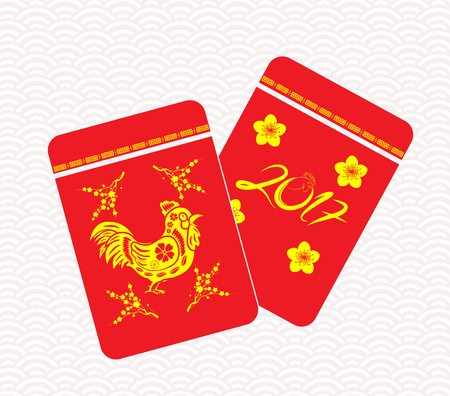 diecut: Chinese New Year rooster Packets. Best Luck Ahead the Year of rooster