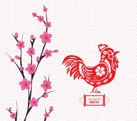auspicious element: Blossom chinese new year rooster and background