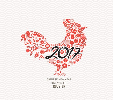 gallo: Año Nuevo Chino 2017. El año de los elementos iconos gallo.