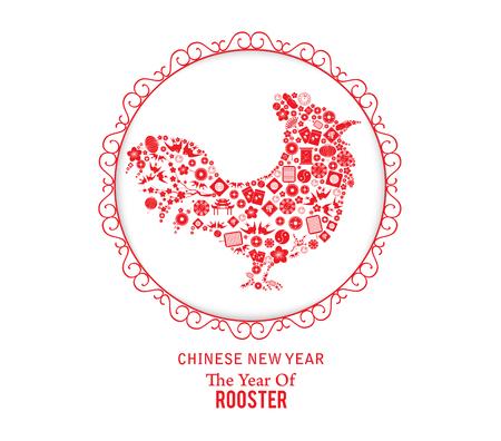 Oosterse Gelukkig Chinees Nieuwjaar 2017 Jaar van de Haan elementen van het ontwerp Stock Illustratie