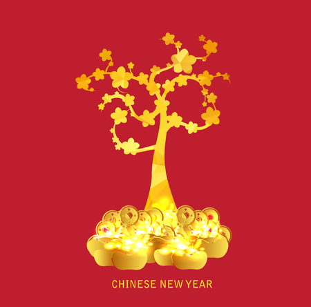 gold tree: Chinese New Year golden coin and gold tree background