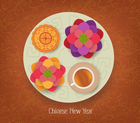 chinese new year element: Chinese New Year Element, Blooming Flower Design