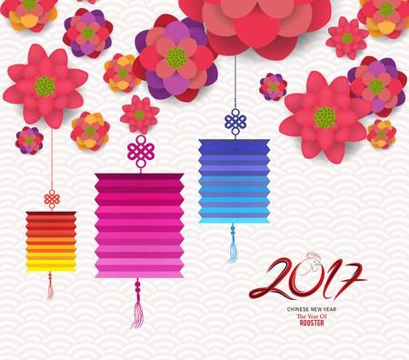 flores chinas: Año Nuevo chino feliz oriental del diseño 2017 flores que florecen Vectores