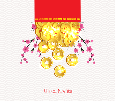 red packet: Plum Blossom and ingot Spilled out from red packet