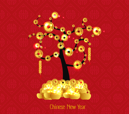 Chinese New Year celebration. Tree coin and gold