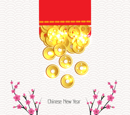 Plum Blossom and ingot Spilled out from red packet Stok Fotoğraf - 59162274