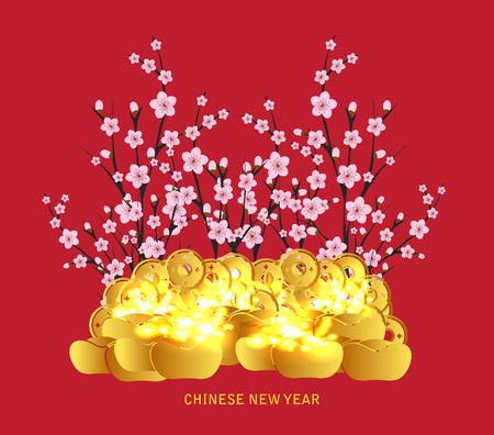 lunar new year: Chinese Lunar New Year with blossom and gold