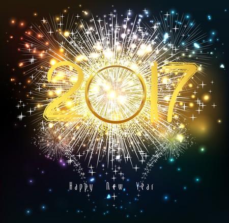 glow pyrotechnics: Happy new year 2017 Fireworks. Illustration