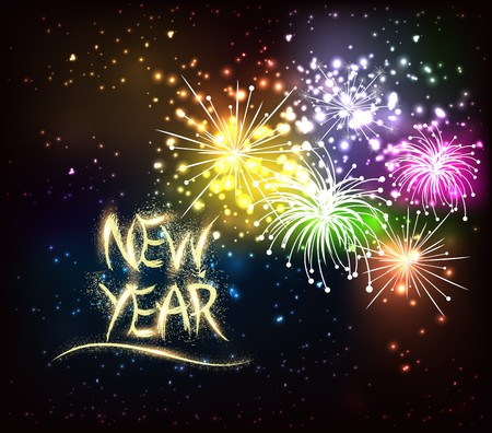 glow pyrotechnics: Happy New Year. Holiday. Illustration. Shiny Lettering Composition With Stars And Sparkles Illustration