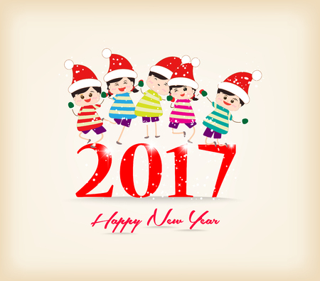 website layout: happy new year 2017 with kids funny Illustration