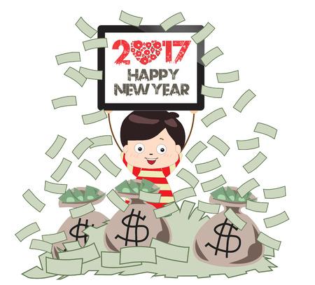 happy new year 2017 successful business man under money rain stock vector 60654044