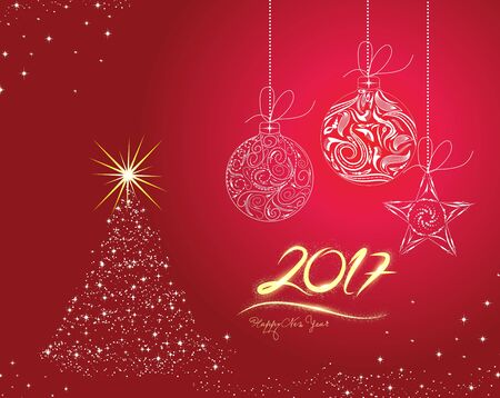 furtree: Christmas and happy new year 2017 Background with Christmas Balls