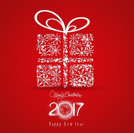 frohes neues jahr: Frohe Weihnachten und ein glückliches neues Jahr 2017. Schneeflocken Geschenk