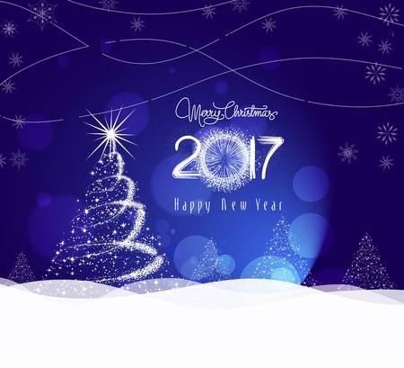 happy new year card: Christmas and happy new year 2017 Background with tree light Illustration