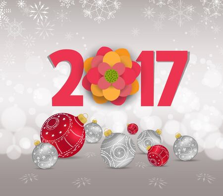 Christmas and Happy new year 2017 with red bauble, snow and snowflakes