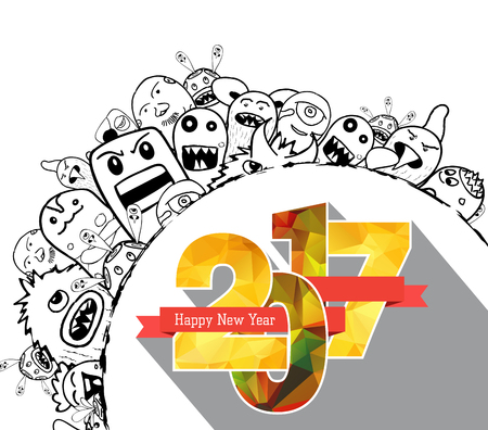 teammate: Happy new year 2017. Hand drawing Doodle Monster