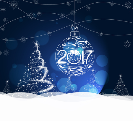 happy new year banner: Happy New Year 2017 greeting card. Snowflake background