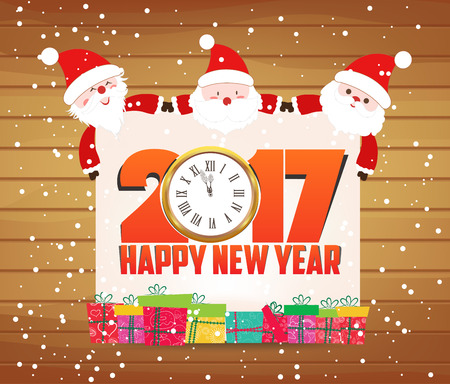 Happy new year 2017 Santa claus and clock  greeting card