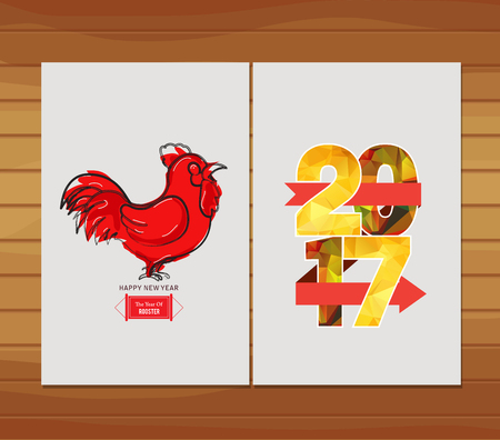 year: Happy Chinese New Year 2017 Greeting Card. Year of the Rooster